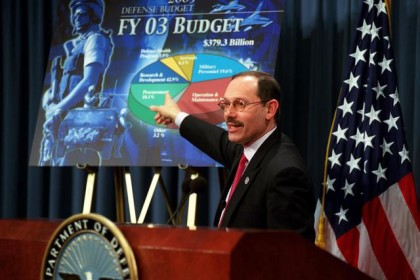 020204-D-9880W-017..Undersecretary of Defense (Comptroller) Dov Zakheim briefs reporters at the Pentagon on the details of the proposed Fiscal 2003 Department of Defense budget on Feb. 4, 2002.  DoD photo by R. D. Ward.  (Released).