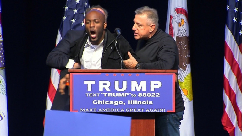 Donald Trump's campaign rally in Chicago on Friday was postponed amid growing security concerns. Several fights between Trump supporters and protesters could be seen after the announcement, as a large contingent of Chicago police officers moved in to restore order.